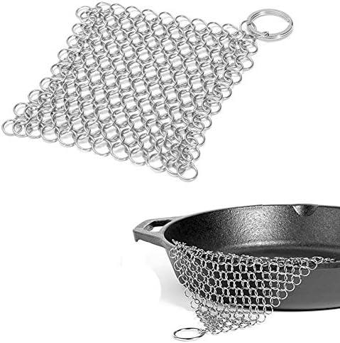 Broyeur de chaîne en fonte avec anneau de suspension antirouille en acier inoxydable pour casseroles, poêles, poêles, barbecues 10x10cm Voir image