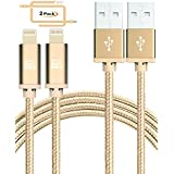 iPhone Charger Cable 10 Foot - [MFi Certified] Durable Braided Apple Lightning USB Cord Compatible with iPhone X/ 8/8 Plus/ 7/7 Plus/IPad Pro [2-Pack, 10-Ft Gold]