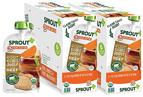 Sprout Organic Baby Food Pouches Stage 3 Sprout Baby Food, Root Vegetables Apple with Beef, 4 Ounce (Pack of 12); USDA Organic, Non-GMO, 3 Grams of Protein, Pasture Raised Beef