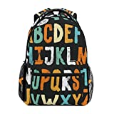 WXLIFE Vintage Alphabet Letter Educational Backpack Travel School Shoulder Bag For Kids Boys Girls Women Men