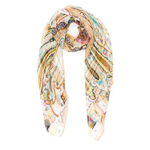 Scarf for Women Lightweight Fashion Summer Fall Paisley Geometric Floral Flower Scarves Shawl Wraps by Melifluos (HCU03)