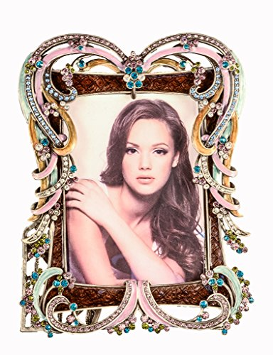 Ciel Collectables Joanna Picture Frame with Hand Set Colorful Swarovski Crystal, Hand Painted Colorful Enamel Over Solid Pewter Base, Antique Silver Plating, Back Made With Stylish Metal, Holds 3.5 x ()