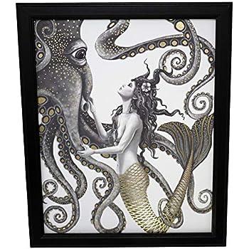 Mermaid and Octopus Original Wall Art Decor - Gold Foil Home Nautical Bathroom Beach Ocean Posters Prints - 8x10 Inches