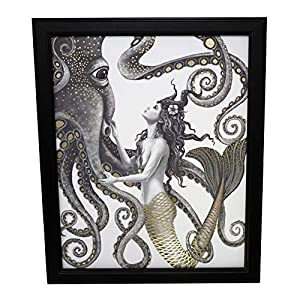 Mermaid and Octopus Original Wall Art Decor – Gold Foil Home Nautical Bathroom Beach Ocean Posters Prints – 8×10 Inches