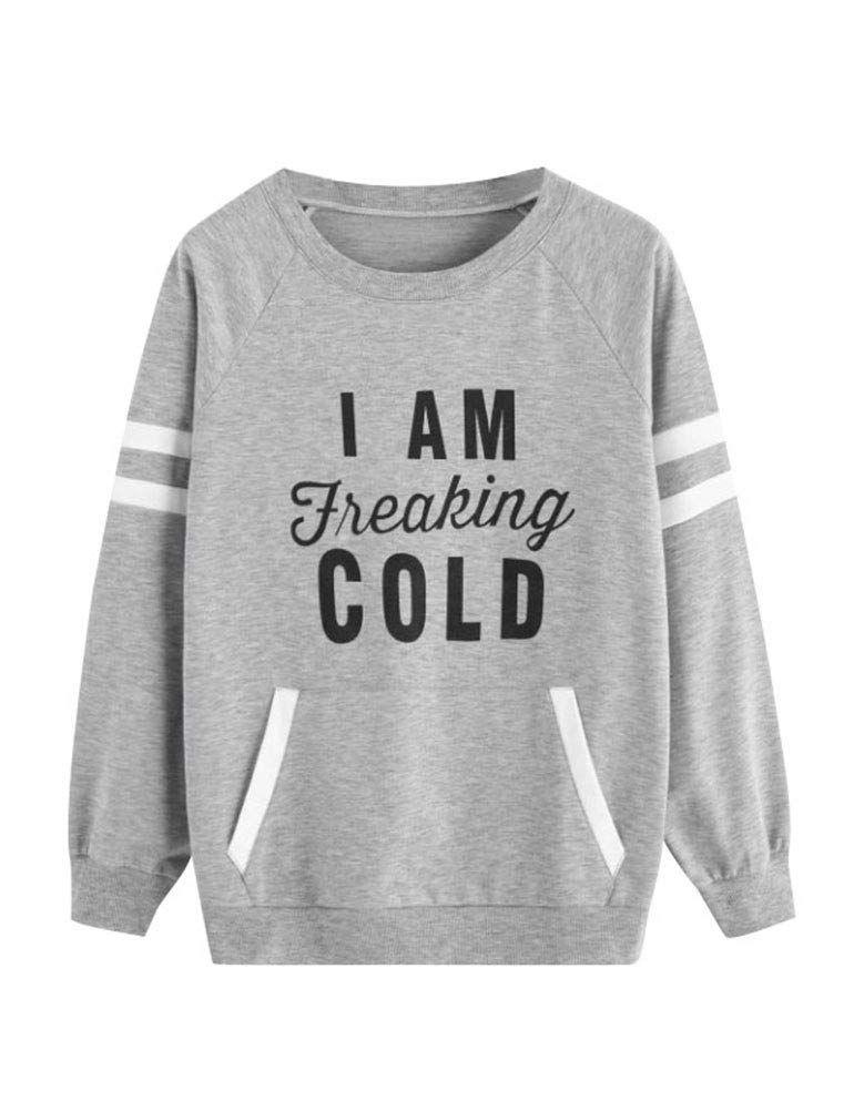 ZJP Women Striped Long Sleeve Freaking Cold Letter Print Sweatshirt with Pocket