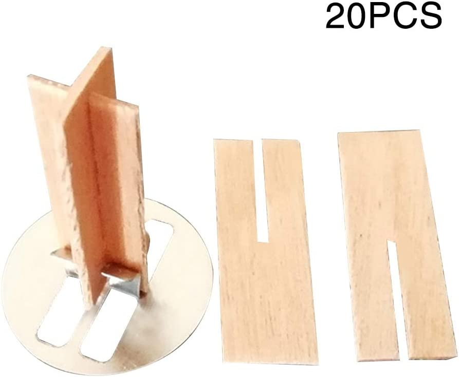 by FriccoBB 20 Groups Wooden Candle Natural with Metal Base Practical Core Safe Cross Crafts for Wax Wood Candle Wicks with Iron Stand Candle Cores Natural