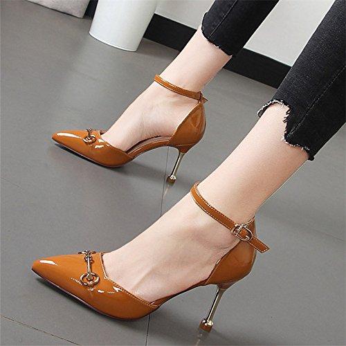zapatos TALÓN la huecos marea caramelo funcionan Xue alto solo CHICA zapatos zapatos negros bien con Color luz Qiqi del PUNTA HHqnZ68Iv