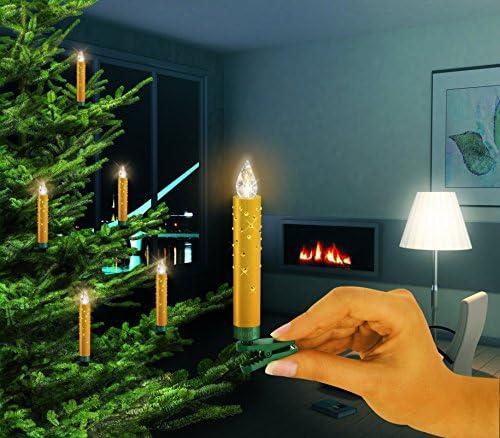 Krinner Lumix Crystal gold mit Swarovski Kristallen 10er Set mit Infrarotfernbedienung Modell 2012
