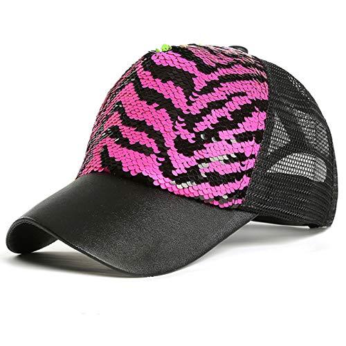 Ayliss Unisex Sequin Mesh Trucker Hat Baseball Cap Hip-hop Snapback Hat for Women/Men (Pink Zebra Stripes)