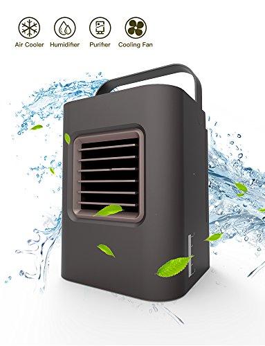 Aire acondicionado portátil 5 en 1 Anbb USB pequeño enfriador de aire personal con luz UV LED, humidificador y purificador,...