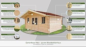 Jardín Casa PA17 - 34 mm listones hogar, superficie: 19,80 M², tejado: Amazon.es: Bricolaje y herramientas