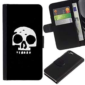 LECELL--Cuero de la tarjeta la carpeta del tirón Smartphone Slots Protección Holder For Apple Iphone 6 -- Cráneo simple --