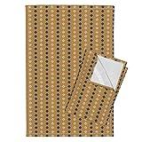 Roostery Navy Sand Tan Gold Southwest Stripes Diamonds Tea Towels Navy Gold Diamonds by Mrshervi Set of 2 Linen Cotton Tea Towels