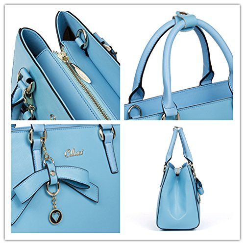 mujer moda señora tipo chica Azul Diseñador CLUCI la universidad Bolso cuero para a casual de Negro de maletín 1wpXx6
