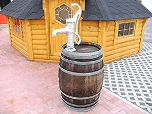 junit 225L Barril de vino Barril de lluvia + Bomba Manual De Plata barrica