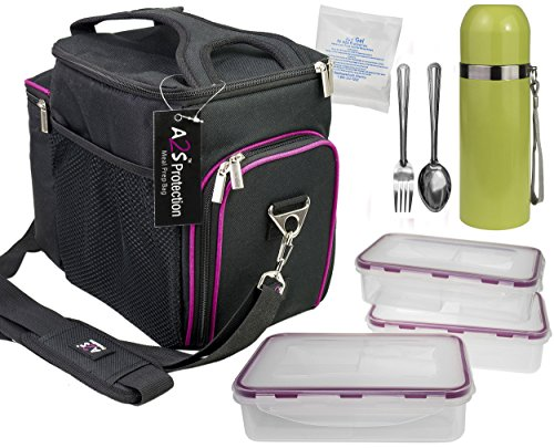 Complete Meal Management 8 Pcs Set by A2S Protection Featuring Cooler Bag 3x Meal Prep Portion Control Containers Leakproof Fork and Spoon Insulated Beverage Bottle Reusable Ice Pack (Black / Purple)