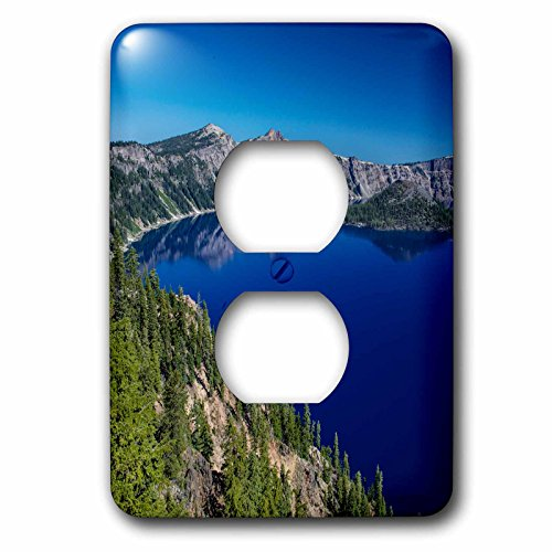 Outlet Lake (3dRose Danita Delimont - Lakes - Looking down on blue waters of Crater Lake, Oregon - Light Switch Covers - 2 plug outlet cover (lsp_259872_6))
