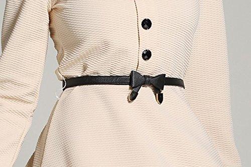 erdbeerloft - Damen Elegantes Kleid mit Kragen, Knöpfen und Gürtel, 34-40, Beige