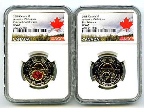 2018 CANADA $2 WWI ARMISTICE POPPY TOONIE FIRST RELEASES TWO COIN SET MATCHED CERT # NGC MS66 ()