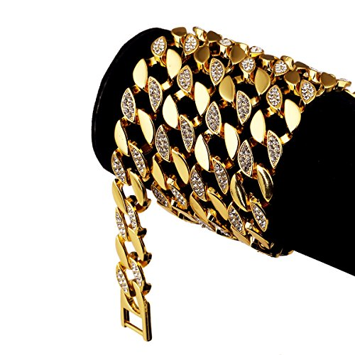 [NYUK Mens Hip Hop Bling 18K Gold Rhinestone Cuba Diamond Chain Necklace] (Dance Costumes Atlanta)