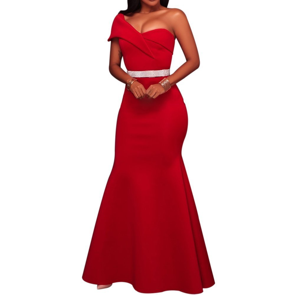 Women's Sexy One Shoulder Ponti Gown Mermaid Evening Maxi Party Dress Red L