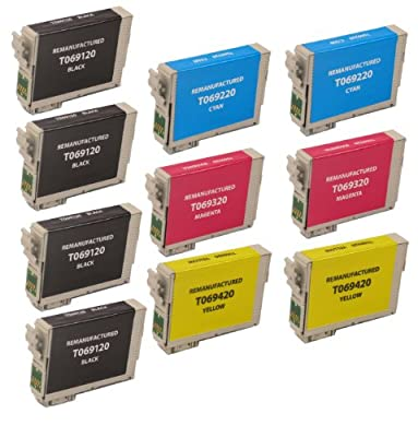10 Pack Remanufactured Inkjet Cartridges for Epson T069 #69 T069120 T069220 T069320 T069420 Compatible With Epson Stylus C120, Stylus CX5000, Stylus CX6000, Stylus CX7000F, Stylus CX7400, Stylus CX7450, Stylus CX8400, Stylus CX9400 Fax, Stylus CX9475 Fax,