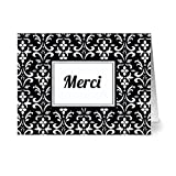 Modern Floral Damask 'Mercí' Jet.Black - 24 Cards - Blank Cards w/ Grey Envelopes Included