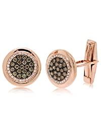 1.00ct 14k Rose Gold White and Champagne Diamond Cuff Links
