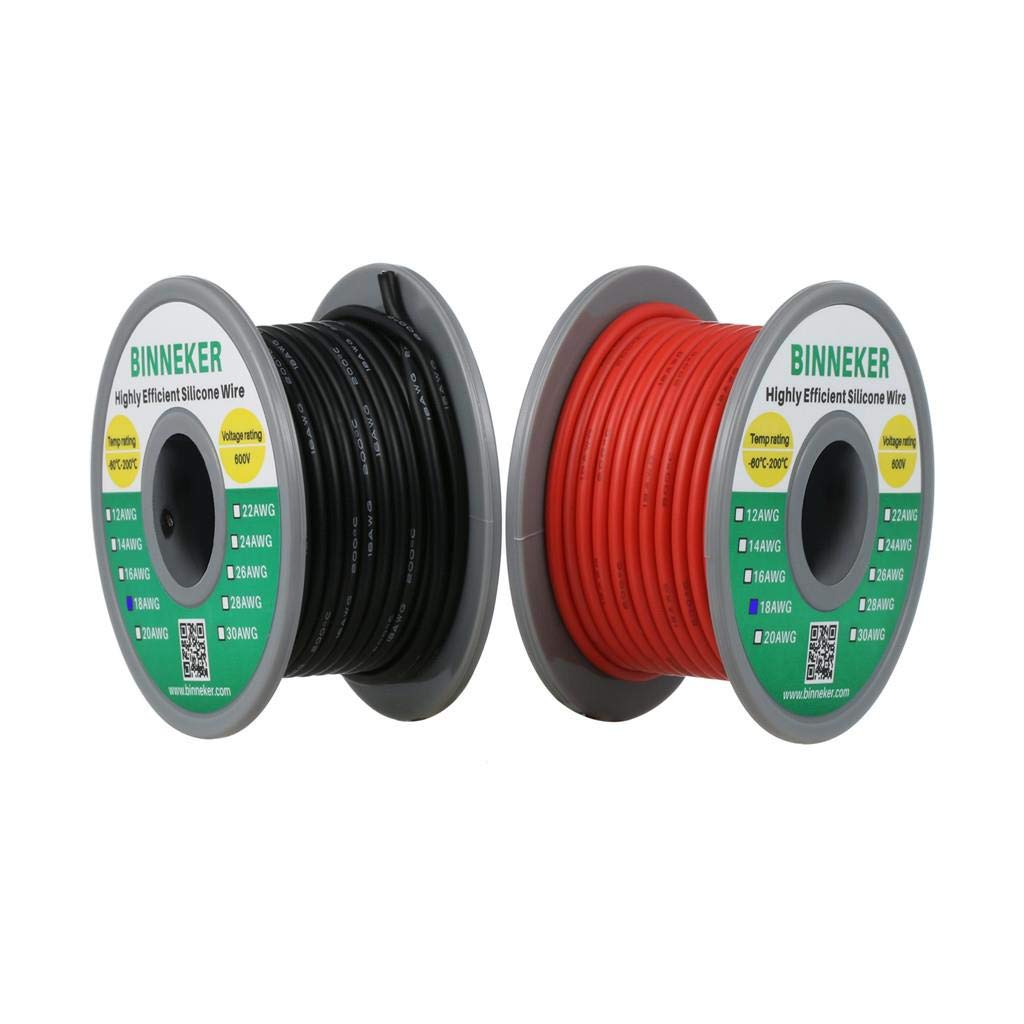 BNTECHGO Ultra Flexible 18 Gauge Silicone Wire Spool 5 Color Red Black Yellow Brown Gray High Resistant 200 deg C 600V Electronic Wire 18 AWG Stranded Wire 150 Strands Tinned Copper Wire Hook Up