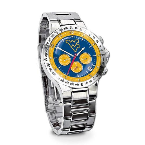 West Virginia Mountaineers Stainless Steel - West Virginia Mountaineers Stainless Steel Chronograph Men's Collector's Watch