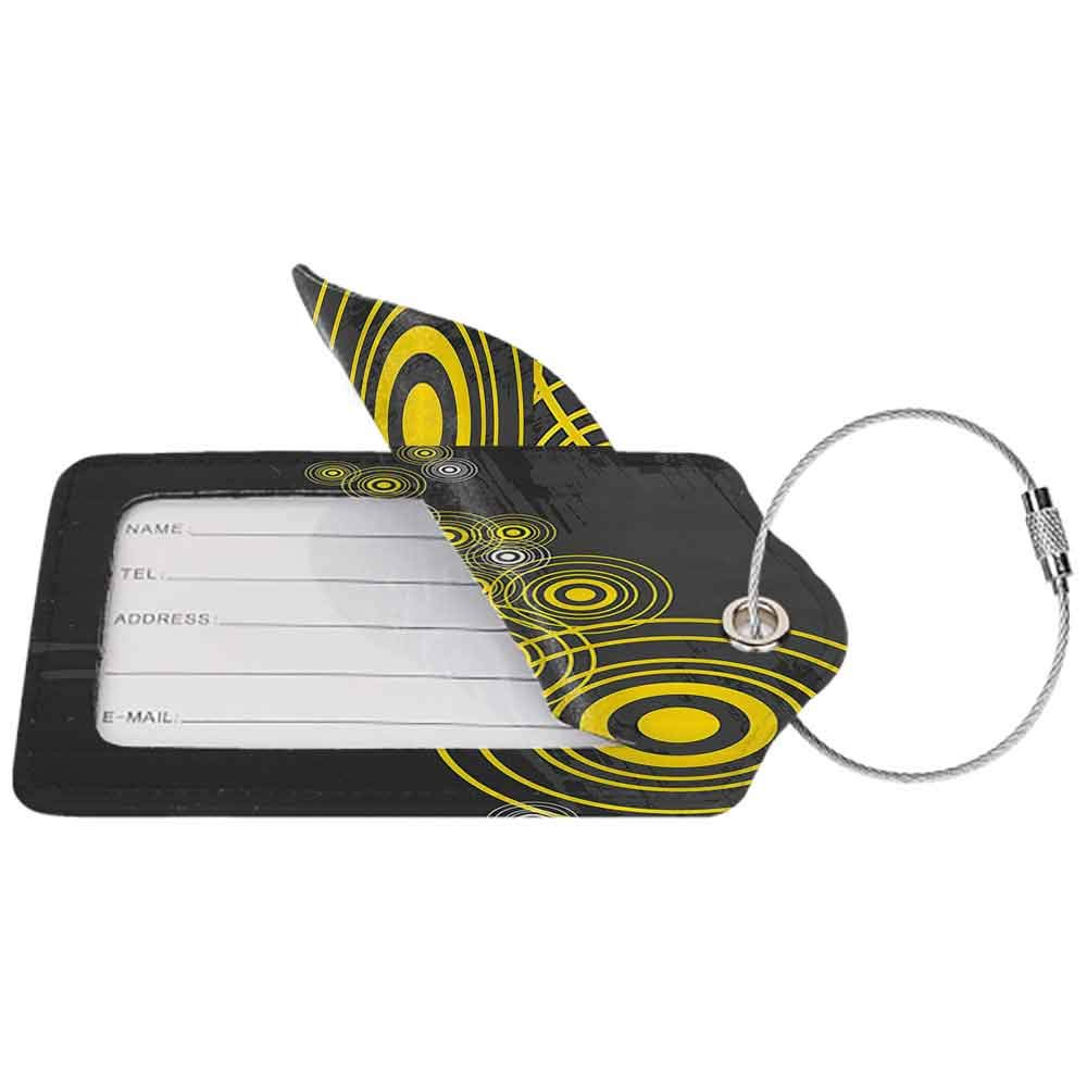 Waterproof luggage tag Grey and Yellow Music Street Decor Inspired Geometrical Inner Circles Image Soft to the touch Charcoal Grey and Black W2.7 x L4.6