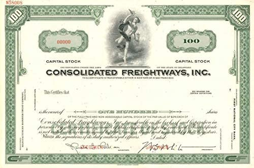 Inc Consolidated Freightways Stock Certificate