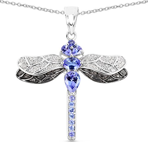 (Dragonfly Pendant 1.73 Carat Genuine Tanzanite and White Topaz .925 Sterling Silver)