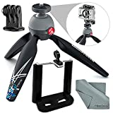 Manfrotto PIXI Xtreme Mini Table Top / Handgrip Tripod Bundle with Smartphone Adapter + Fibertique Cloth