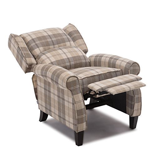 More4homes Eaton Wing Back Fireside Check Fabric Recliner