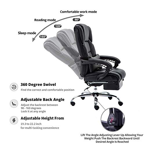KADIRYA Reclining Leather Office Chair - High Back Executive Chair with Adjustable Angle Recline Locking System and Footrest, Thick Padding for Comfort and Ergonomic Design for Lumbar Support-Black by KADIRYA (Image #5)