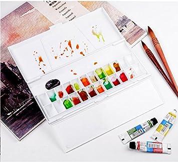 Hiinice Acuarela Paleta De Colores De Paletas Caja De La Caja Bandeja Vac/ía con 24 La Mitad De Sartenes Pintura Herramienta para Viajar Artistas Estudiantes Negros Herramientas De Pintura