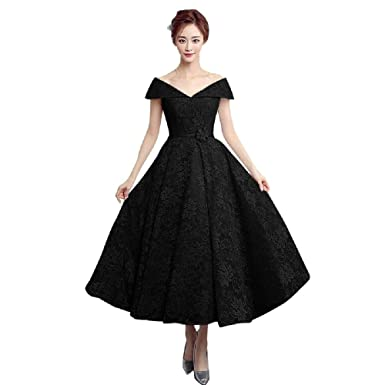 75f8cce3115 Elegant Tea Length Formal Dresses Off The Shoulder Lace Evening Dress Black  US2