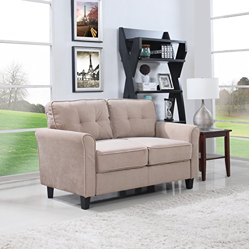 Divano Roma Furniture Classic Ultra Comfortable Brush Microfiber Fabric Living Room Love Seat (Hazelnut)