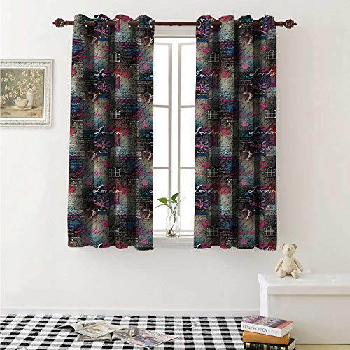(shenglv London Room Darkening Wide Curtains Grungy Newspaper Page Style Collage Lipstick Kiss Marks Coffee Flag Telephone Booth Window Curtain Drape W108 x L72 Inch Multicolor)