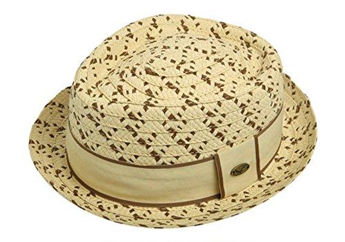 Epoch Men's Two-Tone Band Straw Woven Lightweight Porkpie Hat (L/XL, Brown)