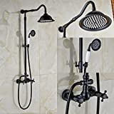 Rozin Bathroom Dual Knobs Mixer Shower Set 8-inch Rain Showerhead with Hand Spray Oil Rubbed Bronze