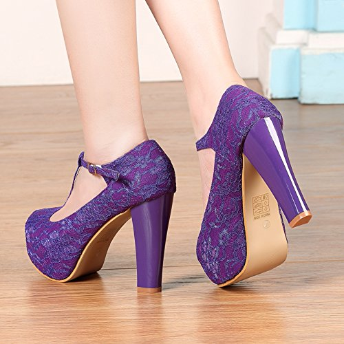 Purple Women's Women Janes Getmorebeauty Dress Shoes strappy Lace Wedding Marty T vRxxTA