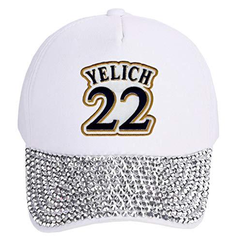 Christian Yelich Hat - Milwaukee Baseball Women's Adjustable Cap (White Studded) (Brewers Baseball Milwaukee White)