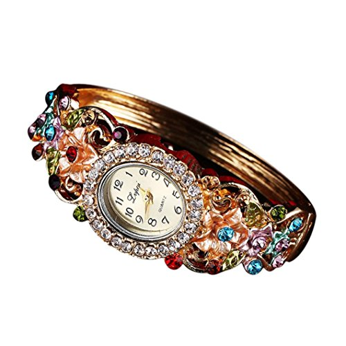 BCDshop Watch Women Luxury Fashion Casual Quartz Elegant Crystal Wristband Bangle Watch (Multicolor, Alloy) from BCDshop