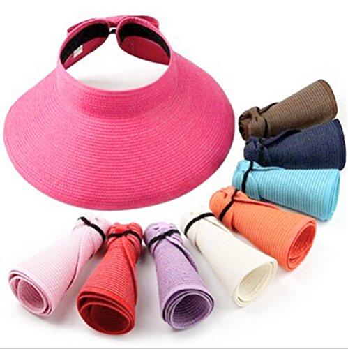 Women Foldable Sun Visor Beach Open Top Hat, Roll up Collapsible Wide Brim Cap (Navy) -