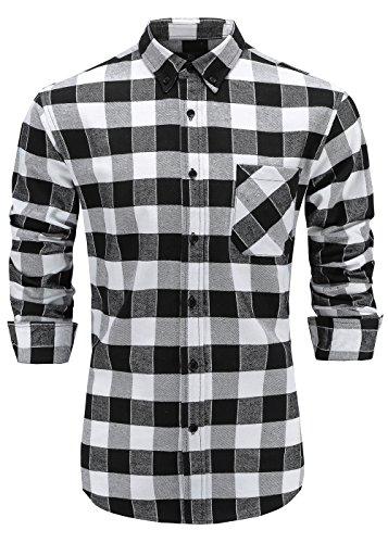 Emiqude Men's Flannel 100% Cotton Slim Fit Long Sleeve Button-Down Plaid Dress Shirt Medium Black (White Plaid Flannel)