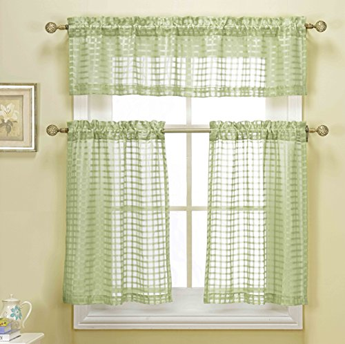 3 Piece Sage Green Sheer Kitchen Curtain Set: Woven Check Design, 1 Valance, 2 Tier Panels (Sage Green)