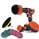Foviza 10Pcs/Set Tile Grout Power Scrubber Cleaning Drill Brush Kit Scrub Tub Cleaner