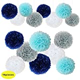 Navy Blue White Grey Wedding Decorations Tissue Paper Flowers Pom Poms Balls for Bridal Shower Bachelorette Baby Girl Boy Theme Birthday Party Supplies set (navy blue, Grey, Light Blue,White)